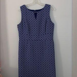 TAHARI Blue and White Pattern Dress
